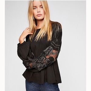 NWT Free People #06 Embroidered Penny Lace Tee Top